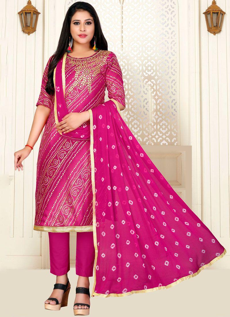 Fancy Fabric Fancy Hot Pink Designer Straight Suit