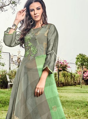 Fancy Fabric Green and Grey Party Wear Kurti