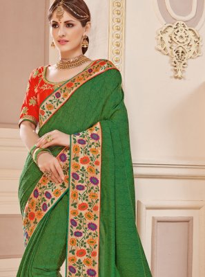 Fancy Fabric Green Border Work Work Classic Saree