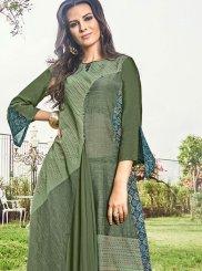 Fancy Fabric Green Party Wear Kurti