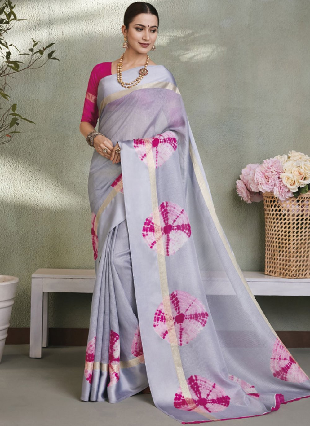 Fancy Fabric Grey Abstract Print Printed Saree