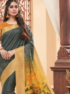 Fancy Fabric Grey Classic Designer Saree