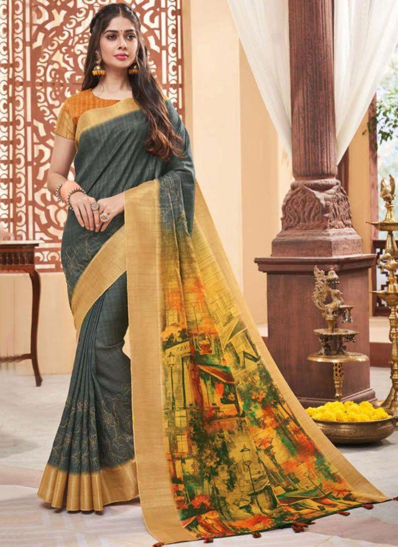 Fancy Fabric Grey Classic Designer Saree