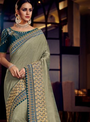 Fancy Fabric Grey Patch Border Classic Saree