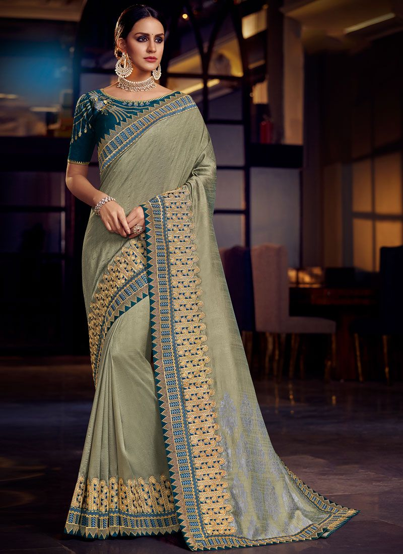 Fancy Fabric Grey Patch Border Classic Saree