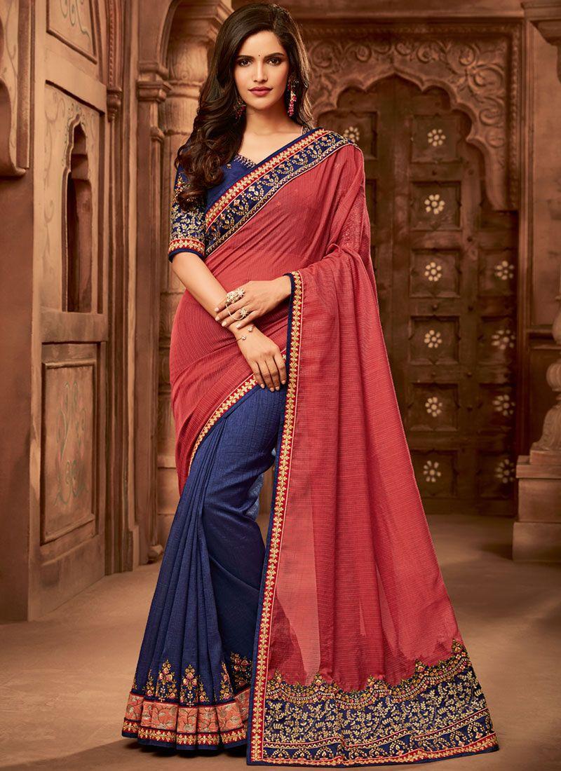 Fancy Fabric Half N Half Designer Saree in Blue and Red
