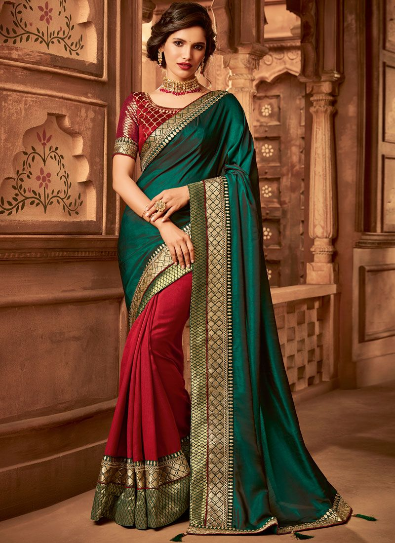 Fancy Fabric Half N Half  Saree