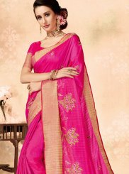 Fancy Fabric Hot Pink Embroidered Traditional Designer Saree