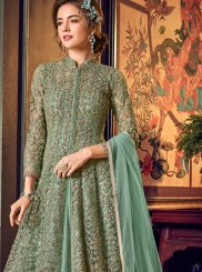 Fancy Fabric Lace Green Floor Length Anarkali Suit