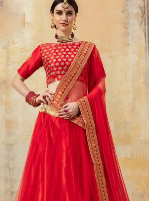 Fancy Fabric Lehenga Choli in Red