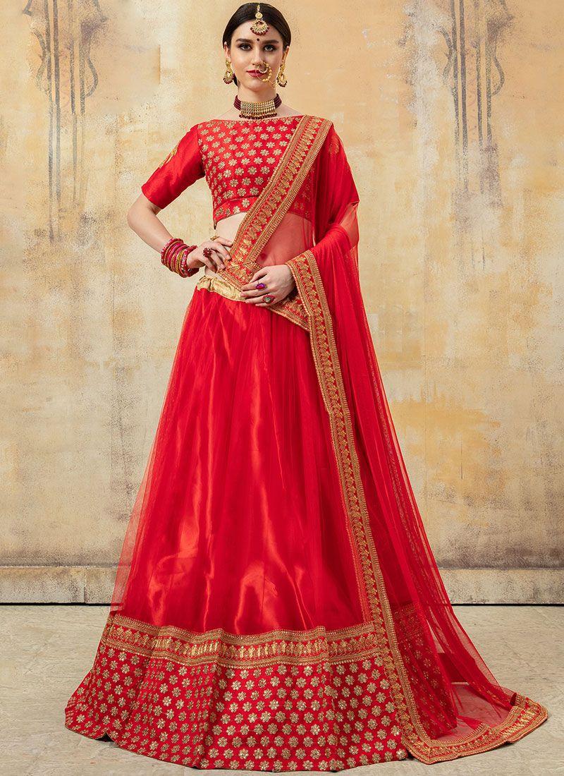 Fancy Fabric Lehenga Choli in Red