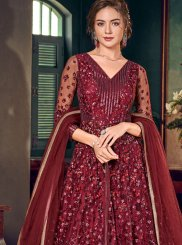 Fancy Fabric Maroon Floor Length Anarkali Suit