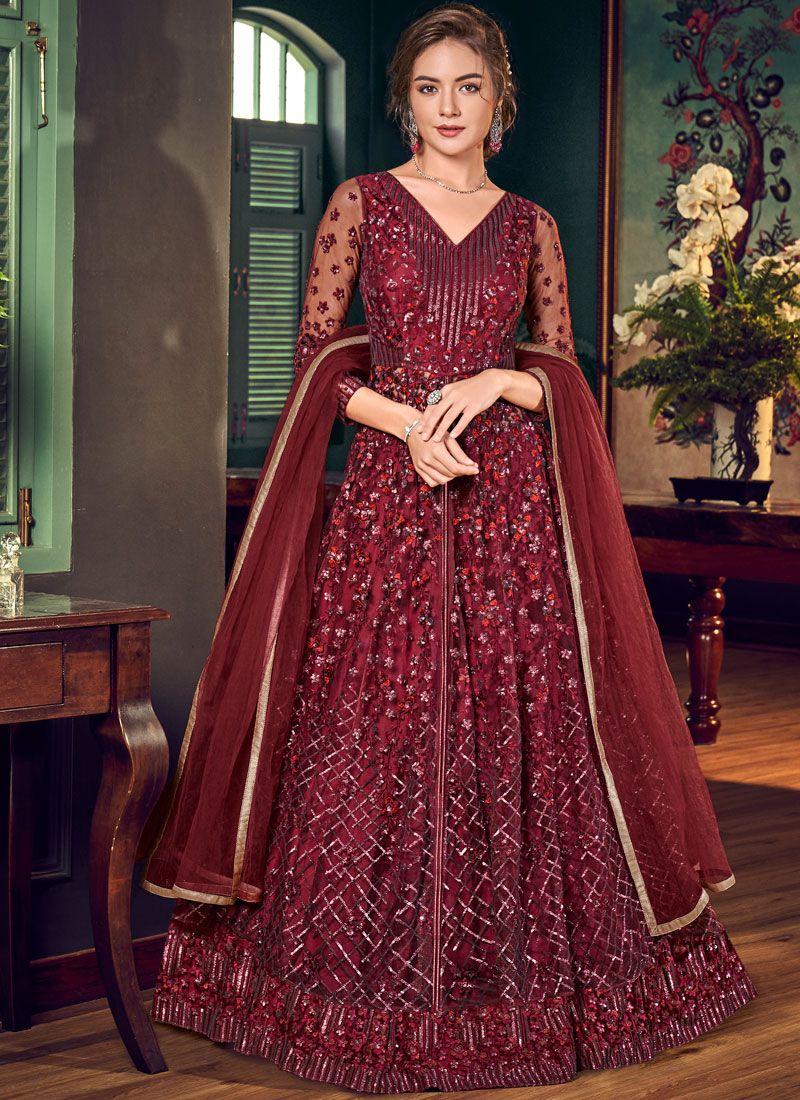 Fancy Fabric Maroon Floor Length Anarkali Suit