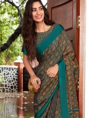 Fancy Fabric Multi Colour Abstract Print Printed Saree