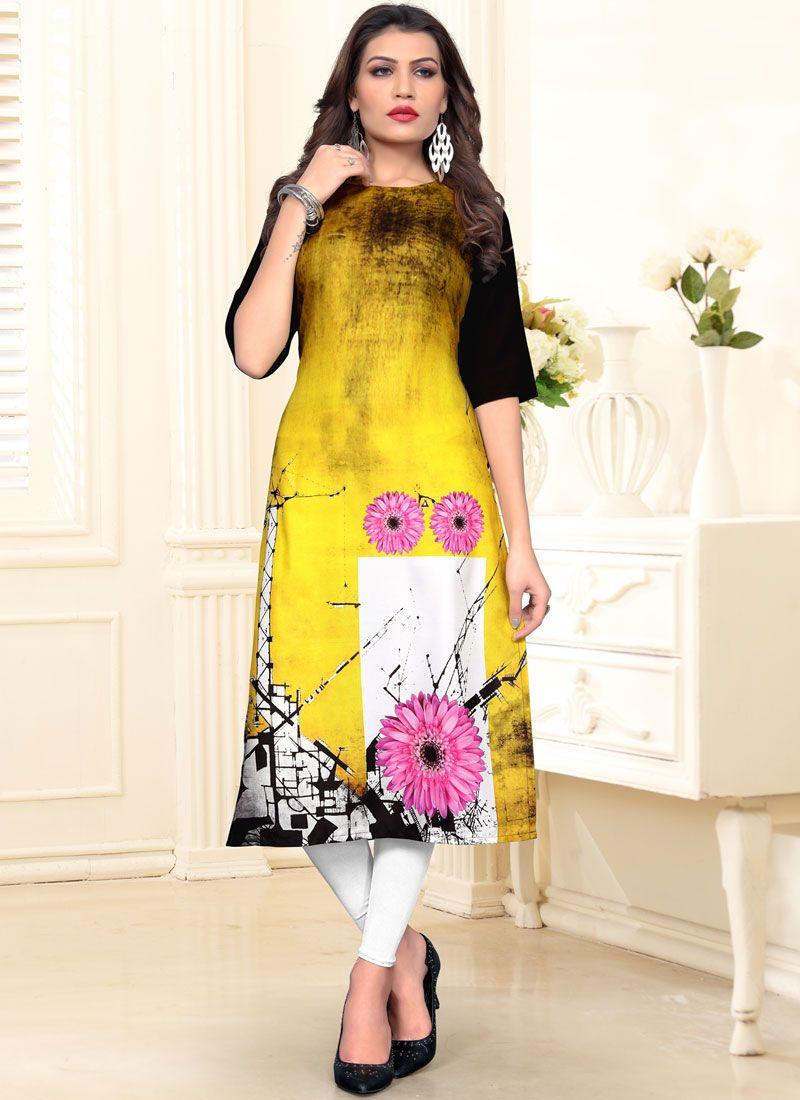 Fancy Fabric Multi Colour Casual Kurti
