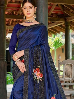 Fancy Fabric Navy Blue Designer Traditional Saree