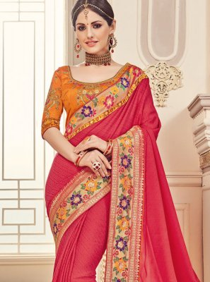 Fancy Fabric Orange and Red Classic Saree