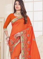 Fancy Fabric Orange Designer Traditional Saree