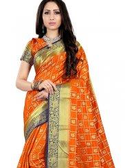 Fancy Fabric Orange Traditional Saree