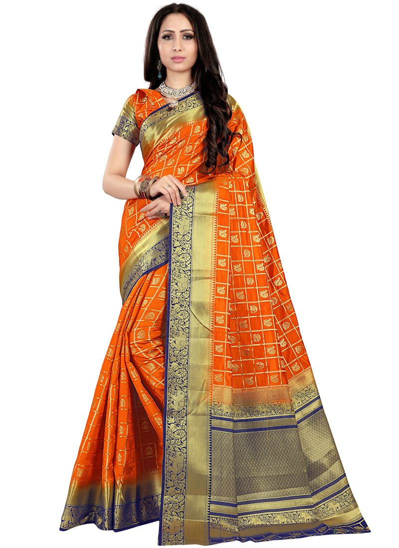 Fancy Fabric Orange Traditional Saree