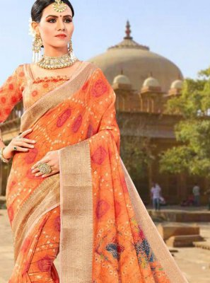 Fancy Fabric Orange Weaving Designer Traditional Saree