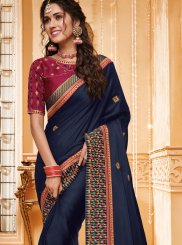 Fancy Fabric Patch Border Blue Classic Saree