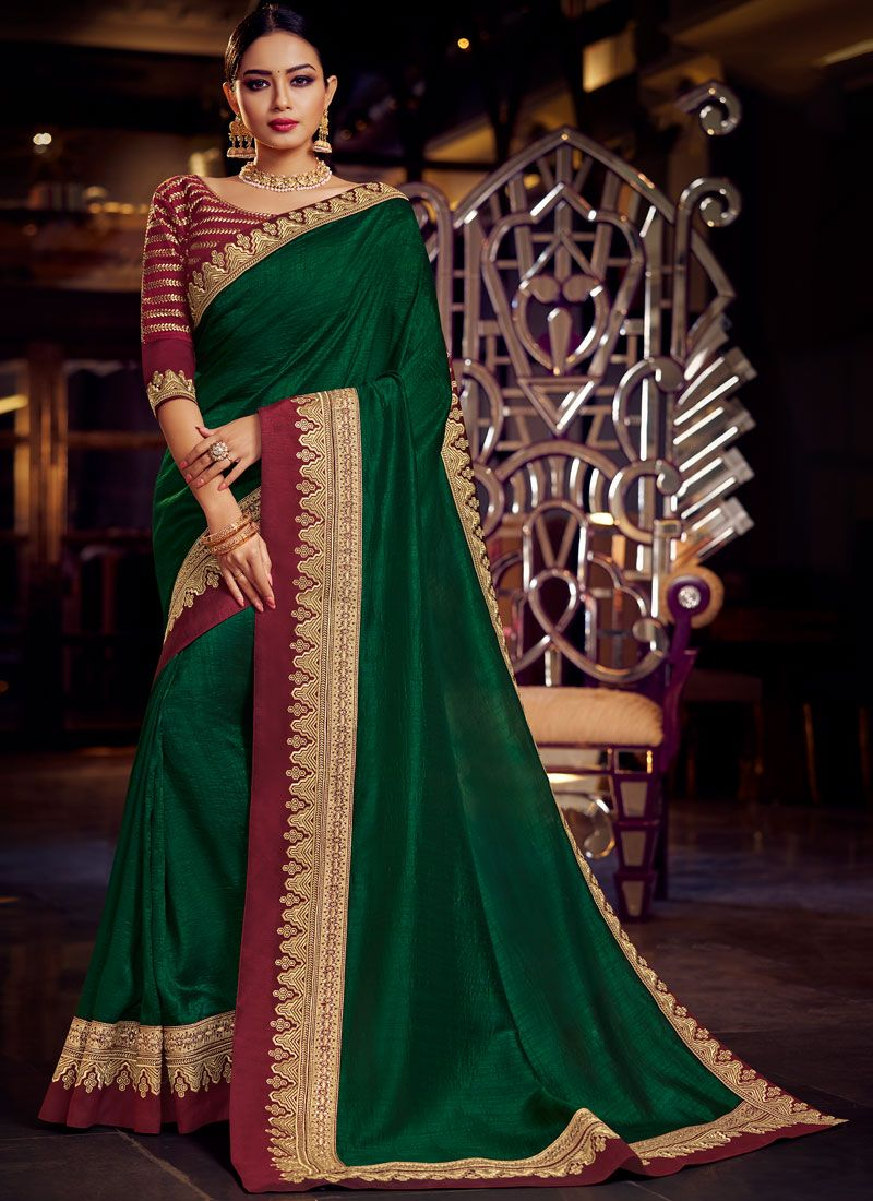Fancy Fabric Patch Border Classic Saree in Green