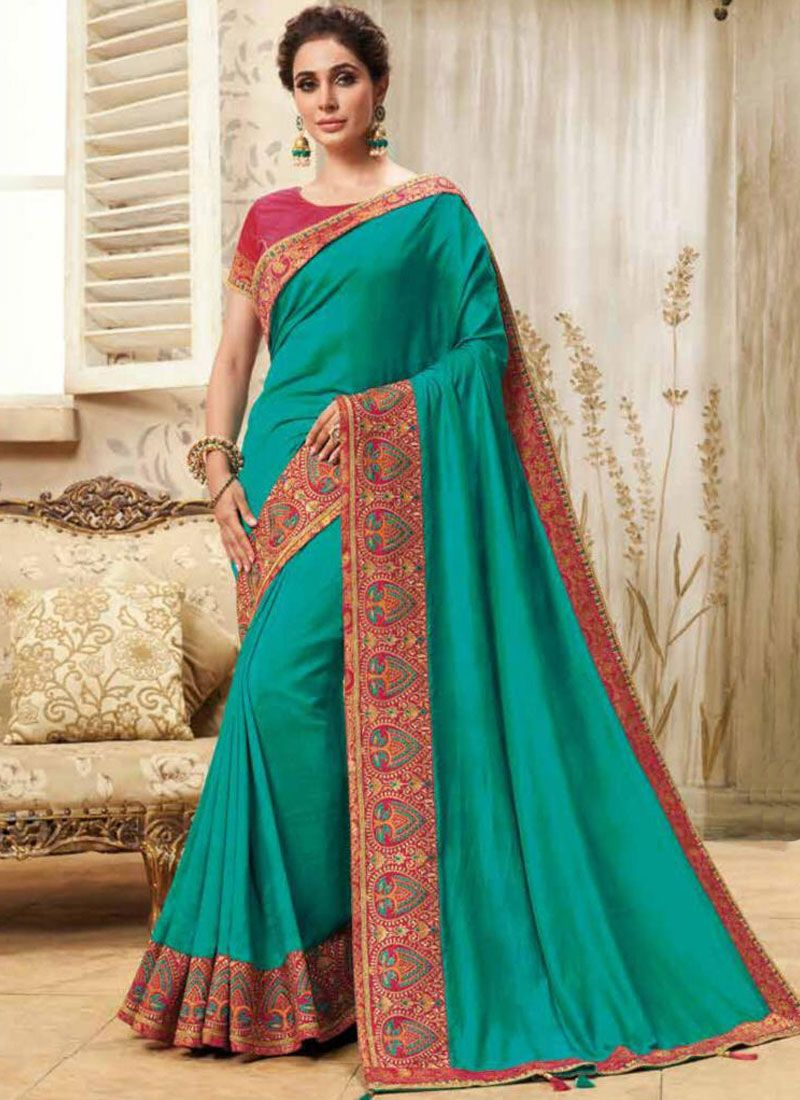 Fancy Fabric Patch Border Classic Saree in Teal