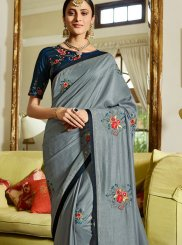 Fancy Fabric Patch Border Grey Classic Saree