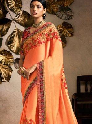 Fancy Fabric Patch Border Peach Classic Designer Saree