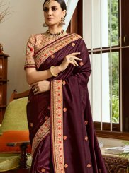 Fancy Fabric Patch Border Wine Classic Designer Saree