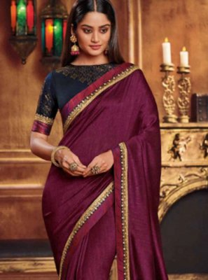 Fancy Fabric Patch Border Wine Traditional Saree