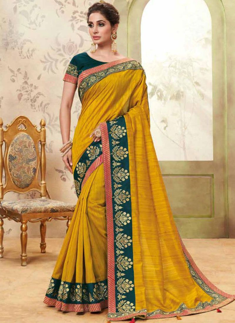 Fancy Fabric Patch Border Yellow Classic Saree