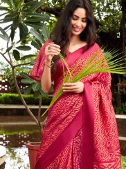 Fancy Fabric Pink Abstract Print Printed Saree