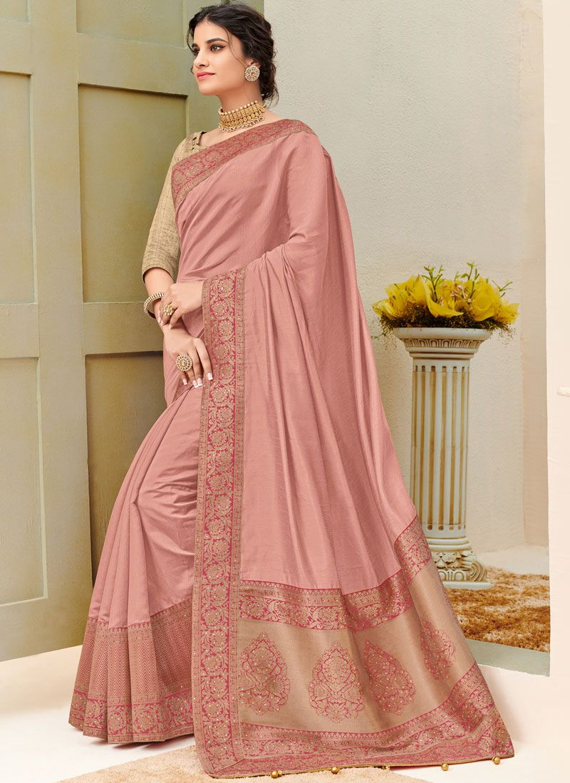Fancy Fabric Pink Designer Traditional Saree