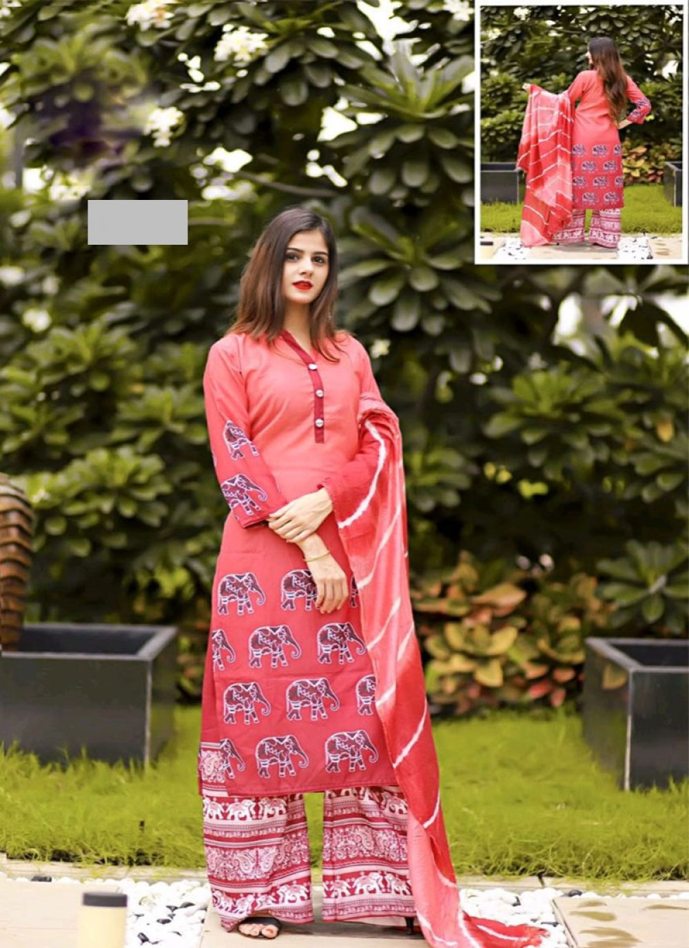 Fancy Fabric Pink Digital Print Designer Palazzo Suit