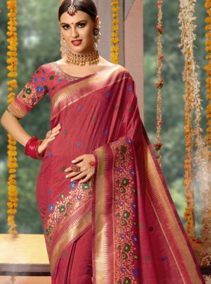 Fancy Fabric Pink Embroidered Designer Traditional Saree