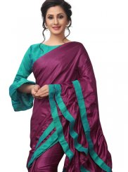 Fancy Fabric Plain Purple Classic Saree