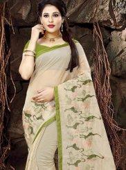 Fancy Fabric Print Beige Classic Designer Saree