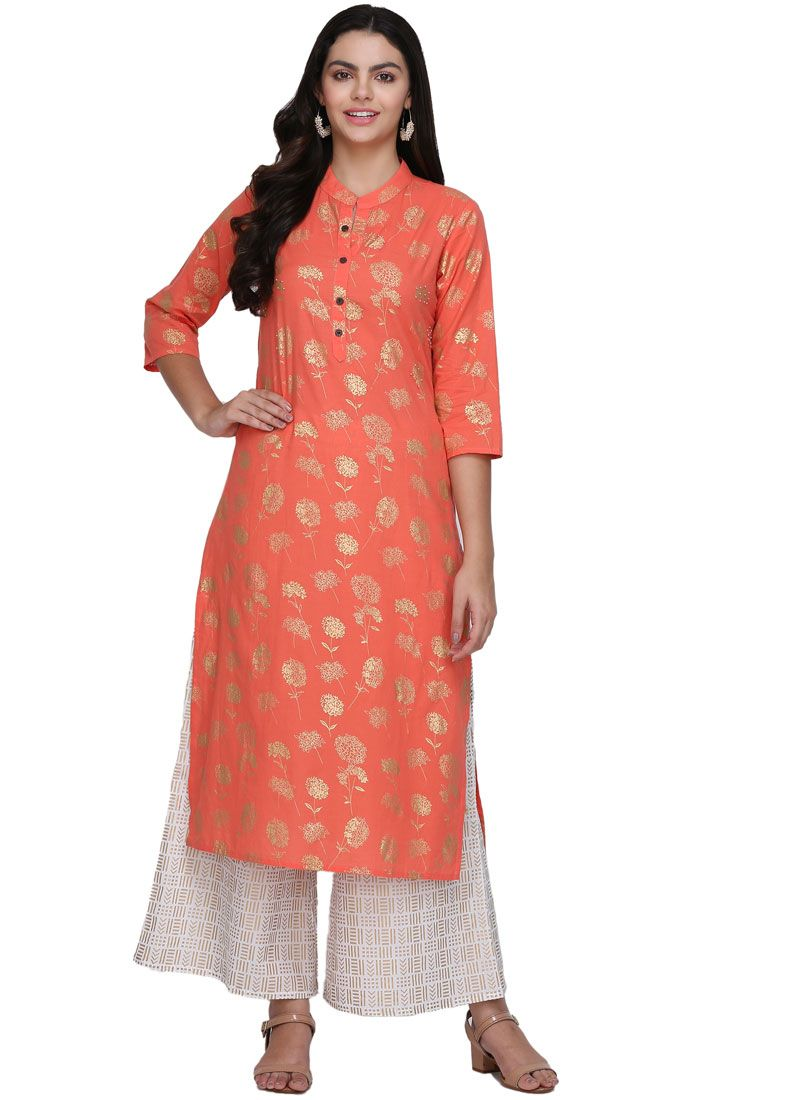 Fancy Fabric Print Casual Kurti in Pink