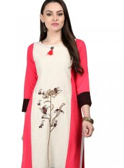 Fancy Fabric Print Cream and Pink Casual Kurti