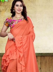 Fancy Fabric Print Orange Classic Saree