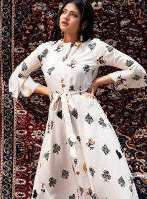 Fancy Fabric Print Party Wear Kurti