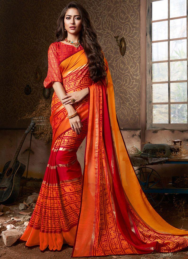 Fancy Fabric Printed Saree in Multi Colour
