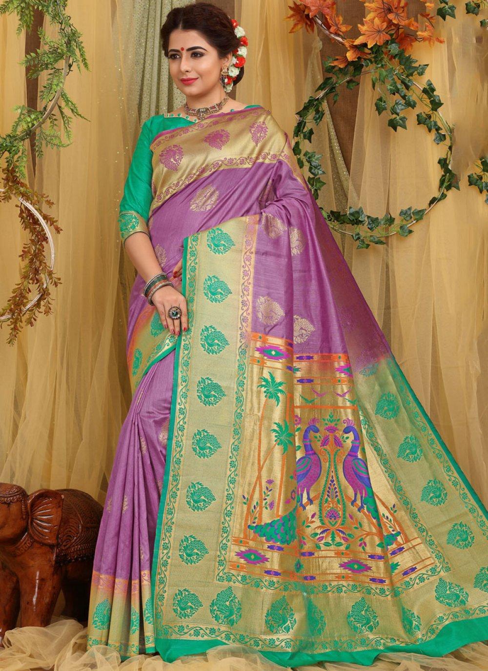 Fancy Fabric Purple Designer Traditional Saree