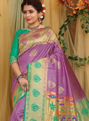 Fancy Fabric Purple Designer Traditional Saree