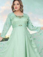 Fancy Fabric Readymade Anarkali Suit in Sea Green