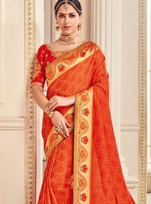 Fancy Fabric Red Border Work Work Classic Saree