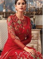 Fancy Fabric Red Floor Length Anarkali Suit