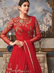 Fancy Fabric Red Floor Length Anarkali Suit